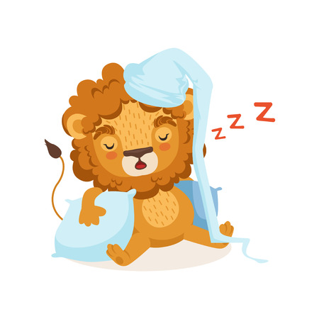 Lion cartoon character wearing nightcap and sleeping on two pillows. African animal with lush mane. Children book illustration, kids print for t-shirt. Flat design vector isolated on white background.