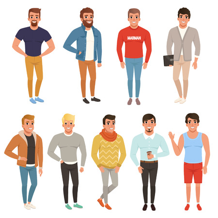Collection of handsome men in stylish clothing. Casual wear. Male characters posing with smiling face expressions. Colorful flat vector design 일러스트