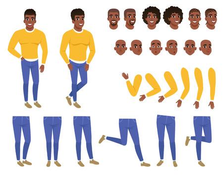 Constructor de joven negro. Individuo en suéter amarillo y blue jeans. Conjunto de creación Colección de partes del cuerpo, peinados y expresiones faciales. Personaje plano de dibujos animados. Ilustración de vector aislado.