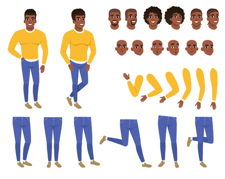 Constructor of young black man. Guy in yellow sweater and blue jeans. Creation set. Collection of body parts, hairstyles and face expressions. Cartoon flat character. Isolated vector illustration.