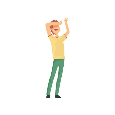Cartoon man with happy face expression holding his hand on his forehead. Successful young guy with brown hair wearing yellow t-shirt and green pants. Flat vector illustration