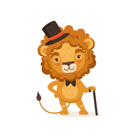 Illustration of lion cartoon character with black cane and wearing elegant cylinder hat and bow tie. Animal with lush mane. Иллюстрация