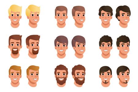 Cartoon set mannen avatars met verschillende kapsels, kleuren en baarden: zwart, blond, bruin. Menselijk hoofd. Man met lachende gezichtsuitdrukking. Platte vector ontwerp.