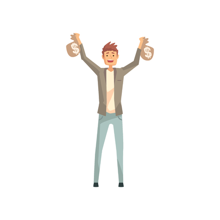 Lucky man holding two bags of money. Cartoon male character won in lottery. Person with good luck. Guy wearing casual clothes: jacket, t-shirt and jeans. Flat vector illustration isolated on white. Çizim