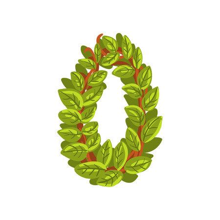 Letter O English alphabet made of tree branches Illustration