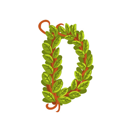 Letter D English alphabet made of tree branches