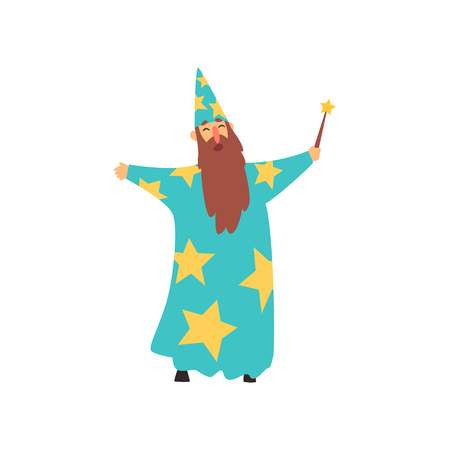 Cheerful man with long beard in blue wizard costume with stars and cone hat. Cartoon male with magical wand in hand. Entertainment concept. Flat vector