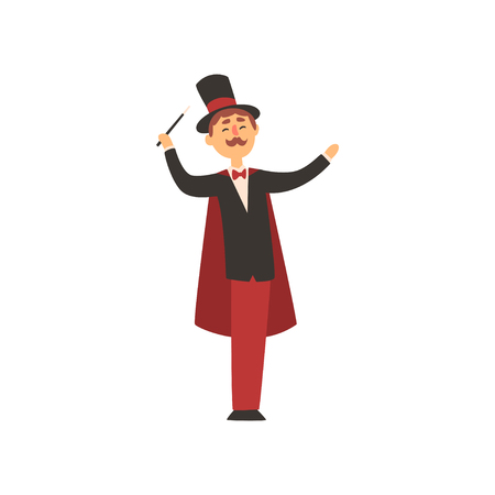 Cheerful magician holding magic wand. Cartoon male character in elegant tuxedo with red cape and cylinder hat. Circus performance. Flat vector design