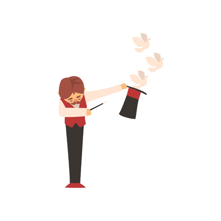 Magician holding magic wand letting out pigeons from his top hat. Male character with mustache in elegant vest, white shirt and black pants. Flat vector Vectores