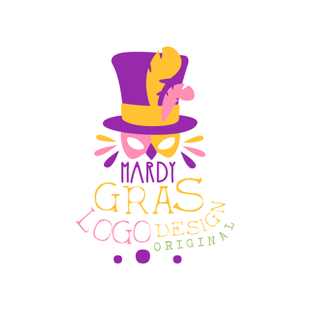 Illustration of cylinder hat with feathers and mask for Mardi Gras holiday original design. Shrove or Fat Tuesday, carnival. Vector isolated on white