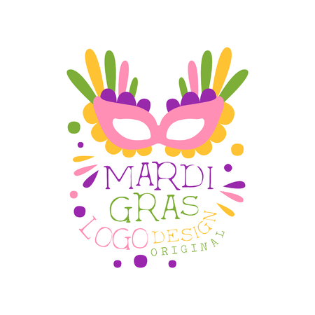 Carnival or masquerade theme for Mardi Gras holiday original design. Fat Tuesday. Vector on white