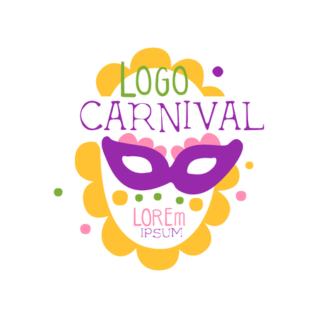 Illustration of abstract carnival face in purple mask for Mardi Gras holiday. Fat Tuesday. Colorful flat vector isolated on white Vettoriali