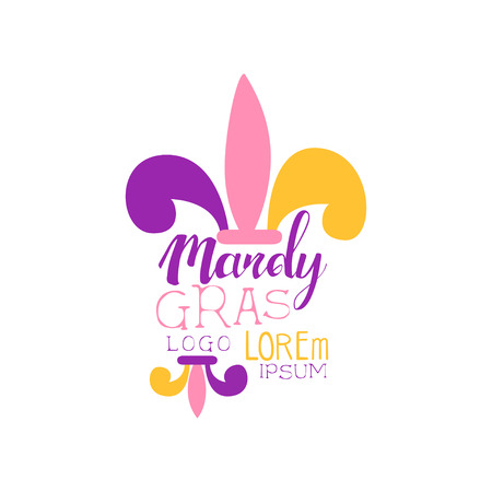 Creative colorful flat Mardi Gras holiday template. Original label design for masquerade party. Shrove or Fat Tuesday, carnival. Vector isolated on white