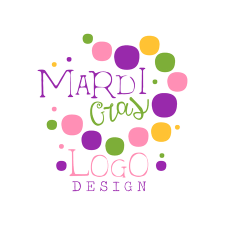 Abstract colorful festive design template for Mardi Gras holiday. Carnival and masquerade theme. Vector isolated on white