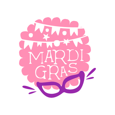 Illustration of hand drawn lettering, garland of flags and mask on pink background for Mardi Gras holiday template. Flat vector on white.