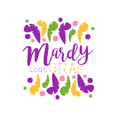 Original label design template for Mardi Gras holiday with hand drawn brush lettering and abstract colorful feathers. Vector on white