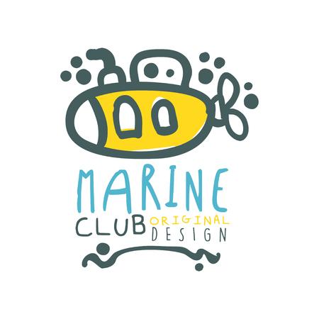 Originele zee club ontwerpsjabloon met letters en onderzeeër. Abstract zomer marien reis- en watersportthema. Vector illustratie geïsoleerd op wit.