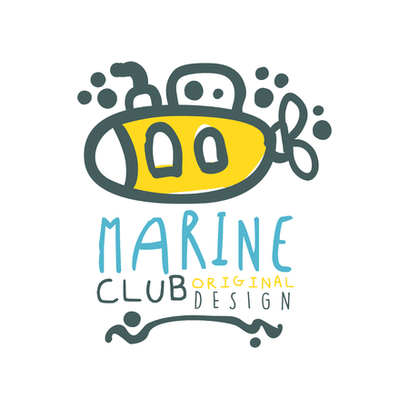 Original sea club design template with lettering and submarine. Abstract summer marine travel and water sport theme. Vector illustration isolated on white.
