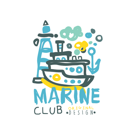 original sea club design template with lettering and submarine