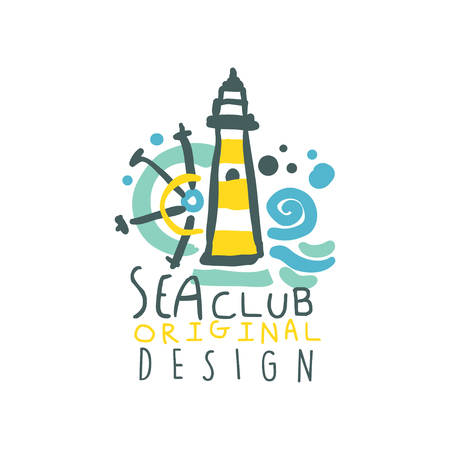 Colorful yacht or sea club design with lighthouse, ship steering wheel and waves. Hand drawn vector illustration isolated on white