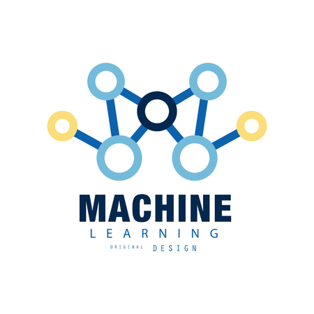 Creative machine learning. Artificial intelligence icon. Technology computing. Abstract flat vector design for web site, mobile app or business company identity