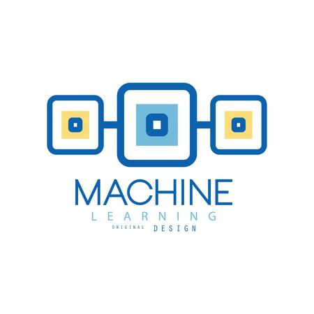기계 학습. 현대 기술의 기하학적 상징입니다. 컴퓨터 산업 개념입니다. 광고 포스터 또는 기업 정체성을위한 평면 벡터 디자인