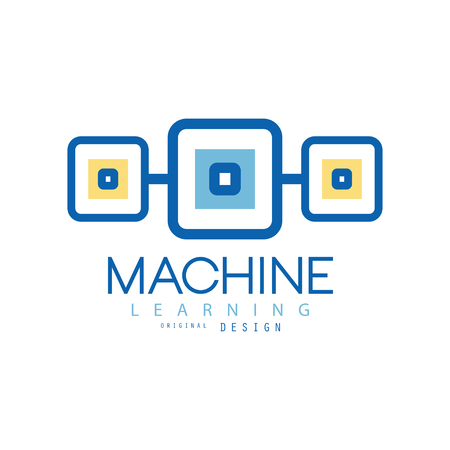 Machine learning. Geometric symbol of modern technologies. Computer industry concept. Flat vector design for advertising poster or corporate identity Ilustrace