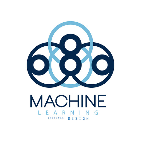 Symbol of machine learning. Computers and artificial intelligence technologies. Flat icon in blue color. Vector design for company, label or advertising poster