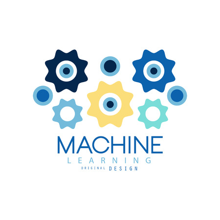 Machine learning process and data science technology symbol. Artificial intelligence. Colored geometric icon. Flat vector design for company, label or card