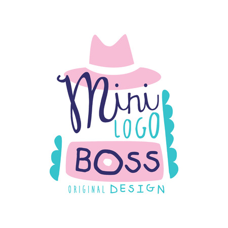 logo creative design with broad-brimmed hat and decoration. Hand drawn lettering with kid theme illustration. Gentle pink and blue colors. Colorful original vector label isolated on white.