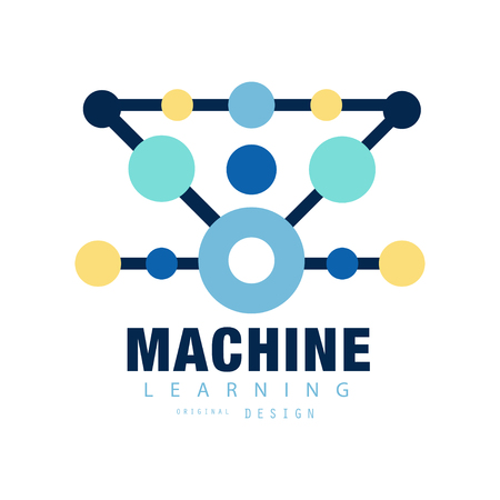 Modern of machine learning. Computer training. Geometric technology icon with colored circles. Flat vector design for mobile app, label or badge of business company Illustration