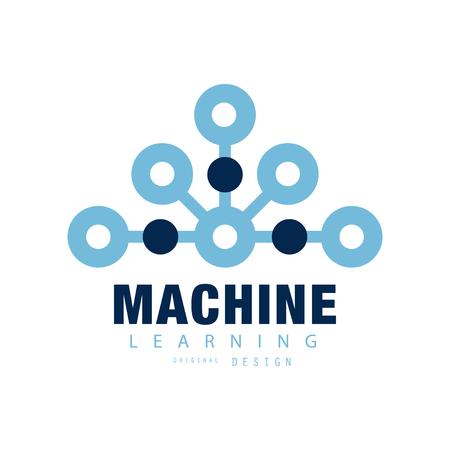 플랫 스타일의 추상 기술입니다. 기계 학습 기호입니다. 인공 지능 개념입니다. 명함, 포스터, 레이블 또는 배지의 기하학적 벡터 디자인