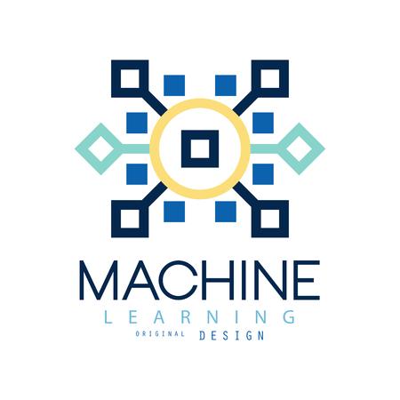 기계 학습의 컬러 기하학적입니다. 인공 지능 아이콘입니다. 컴퓨터 과학. 웹 사이트, 명함 또는 회사 레이블에 대한 평면 벡터 디자인