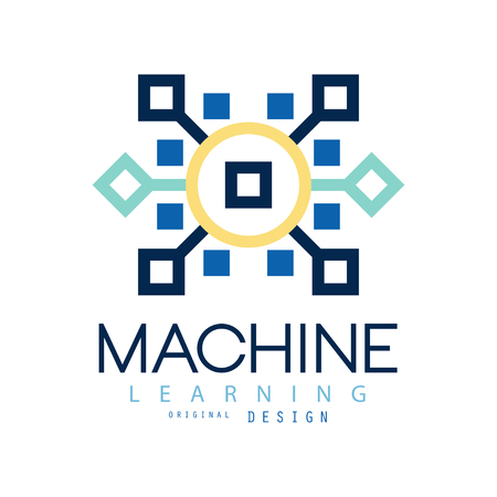 Colored geometric of machine learning. Artificial intelligence icon. Computer science. Flat vector design for website, business card or company label Illusztráció
