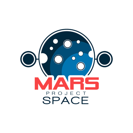 Creative astronomical with planet. Mars project, space discovery. Colored icon in outline style with inscription. Flat vector for emblem, label or badge
