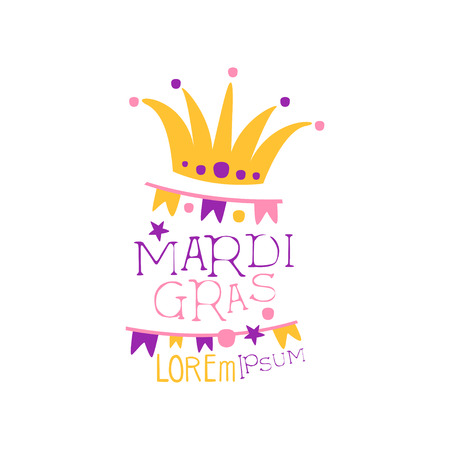 Original design template with fool s cap, garland of flags and lettering for Mardi Gras holiday. Fat Tuesday, carnival. Colorful flat vector isolated on white