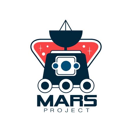 Colorato con esplorazione di Marte. Progetto scientifico di astronomia, viaggio nello spazio. Emblema in stile di linea. Design piatto vettoriale per adesivo, badge o stampa Archivio Fotografico - 92057422