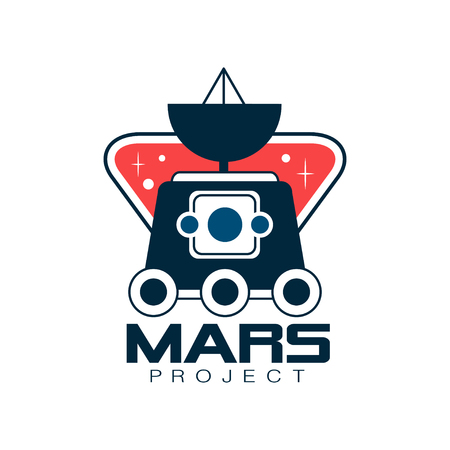 Colored with Mars exploration. Astronomy science project, journey into space. Emblem in line style. Flat vector design for sticker, badge or print