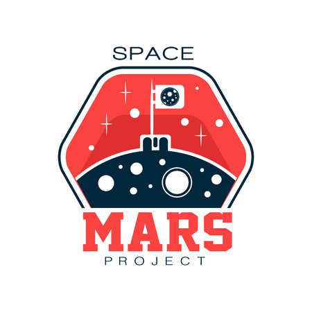 Abstract  with flag on Mars. Discovering and exploring Red planet. Cosmic journey. Outline emblem. Flat vector for space project, print, sticker or label