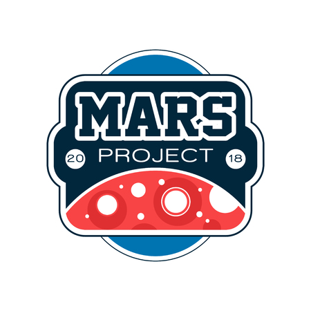 Colored label with abstract Red planet and inscription. Mars project. Exploration mission, journey into space. Flat vector design, print, emblem or badge Illustration