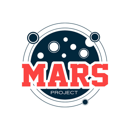 Original astronomical with Mars. Space adventure, exploration of Red planet, scientific project. Outline emblem with inscription. Flat vector for label, sticker or print