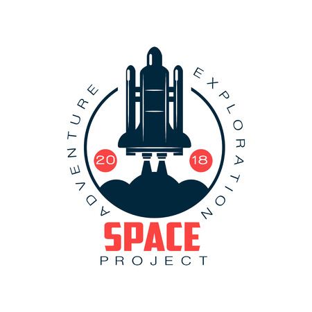 spacecraft launch. Space exploration and adventure. Rocket symbol. Abstract label in flat style. Vector element for badge, emblem or sticker Illustration