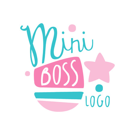 Blue and pink mini boss creative design. Original label for kids-focused business. Colorful hand drawn vector illustration isolated on white Çizim
