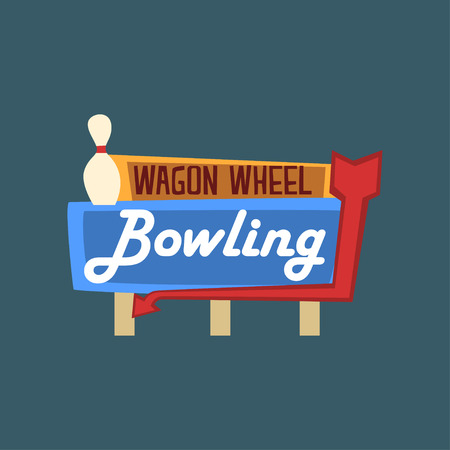 Bowling wagon wheel retro street signboard, vintage banner vector Illustration, design element