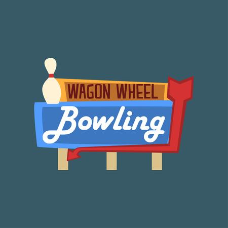 Bowling wagon wheel retro street signboard, vintage banner vector Illustration, design element