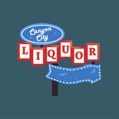 Liquor, bannière de Canyon City. Banque d'images - 92176017