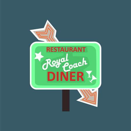 Royal Coach restaurant, dinner retro street signboard, vintage banner vector Illustration Stock Photo