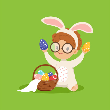 Cute little boy with bunny ears and rabbit costume playing with basket with painted eggs, kid having fun on easter egg hunt vector illustration.