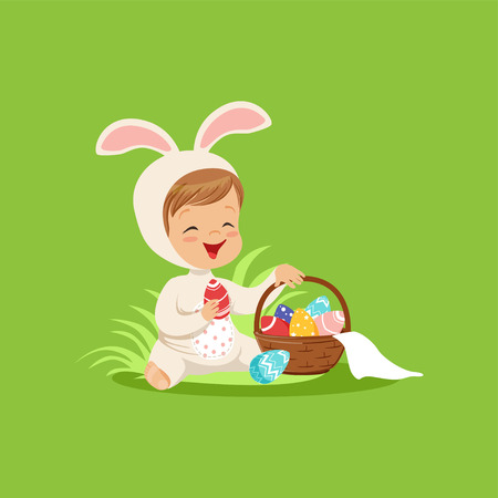 Cute little boy in a white bunny costume sitting and playing with basket with painted eggs, kid having fun on Easter egg hunt vector Illustration. Illustration