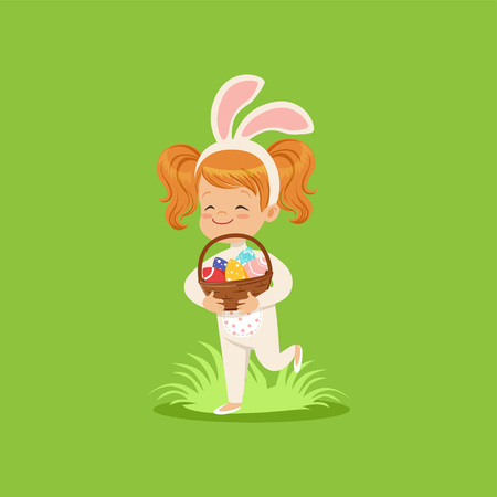 Happy little girl with bunny ears and rabbit costume holding basket with painted eggs, kid having fun on Easter egg hunt vector Illustration on a lawn green background.